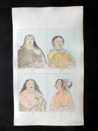 Catlin 1857 HCol North American Indian Print. Native American Portraits 24-27